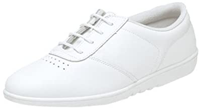 Womens Ladies Leather Lace Up Casual Non Slip Shoes Trainers Size 3 - 9  WHITE ( 182f7b579