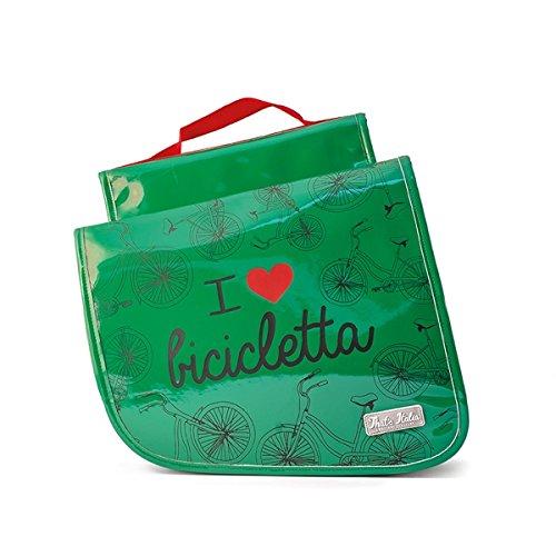 "Fahrradtasche ""I love Bicicletta"" in grün, original ""That´s Italia"" Kollektion"