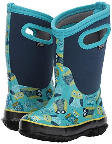 Bogs Classic High Waterproof Insulated Rubber Neoprene Rain Boot Snow, Owl Print/Blue/Multi, 3 M US Little Kid
