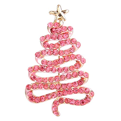 EVER FAITH Austrian Crystal Streamer Star Christmas Tree Brooch Pin Pink Gold-Tone -