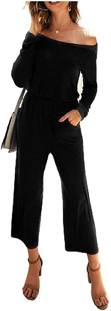 Abetteric Womens Solid-Colored Running Pants Overall Long-Sleeve Playsuit