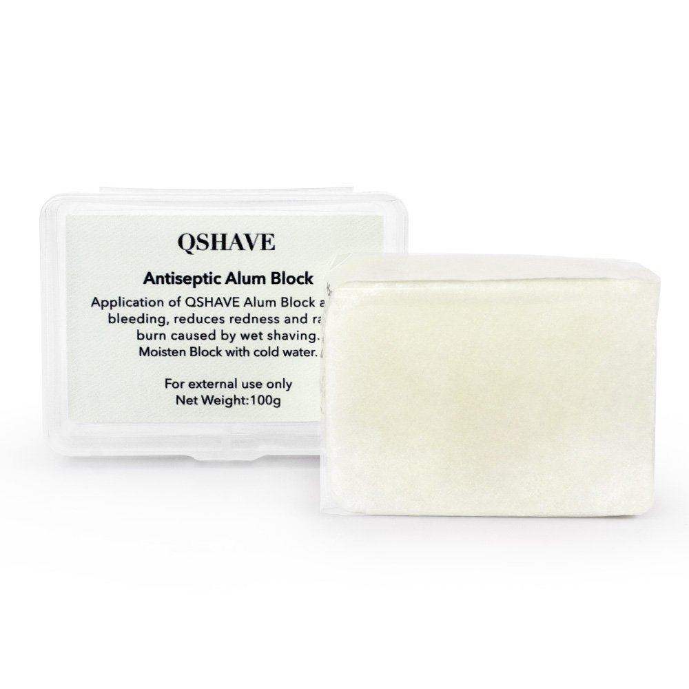 QSHAVE Alum Block to Stop Bleeding from Nicks and Cuts Caused by Shaving (100g/3.5 oz)