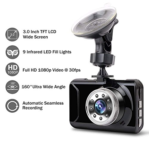 """Dash Cam, coolsun Dashboard Camera Recorder 3.0""""LCD FHD 1080P, Car Cam Vehicle DVR Built-in Night Vision, WDR, G-Sensor, Loop Recording. by coolsun (Image #1)"""