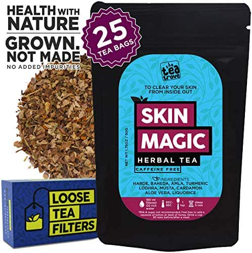 The Tea Trove Skin Magic Herbal Tea | Helps Skin Detox for Rich and Clear Skin and Glowing Skin | Steep as Hot Skin Detox Tea or Iced Antioxidant Acne Drink | Caffeine Free(1.73oz, 25 Cups)