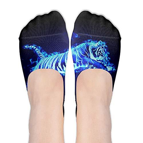 (PangYuen Flaming Tiger Women's Polyester Cotton Socks Ladies Boat Socks Deodorant Boat Socks Thin Section Casual Socks Low Breast Socks)