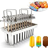 Stainless Steel Ice Lolly Popsicle Molds Kit,Stainless Steel Molds Mold Ice Pop Lolly Popsicle Ice Cream Stick Holder + Cleaning Brush (20pcs/Round Head/Grooved)