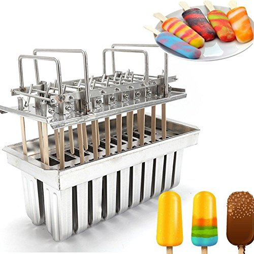 Stainless Steel Ice Lolly Popsicle Molds Kit,Stainless Steel Molds Mold Ice Pop Lolly Popsicle Ice Cream Stick Holder + Cleaning Brush (20pcs/Round Head/Grooved) by NOPTEG