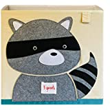 3 Sprouts Cube Storage Box - Organizer Container for Kids & Toddlers, Raccoon