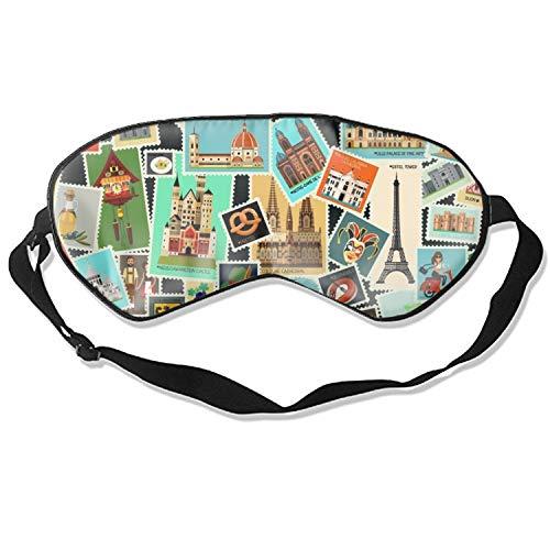 Pattern Postage Stamps - 3D Sleep Mask,Postage Stamps Pattern Eye Mask Custom Funny Design, Super Smooth Memory Foam, Maximum Light Blocking & Adjustable Strap