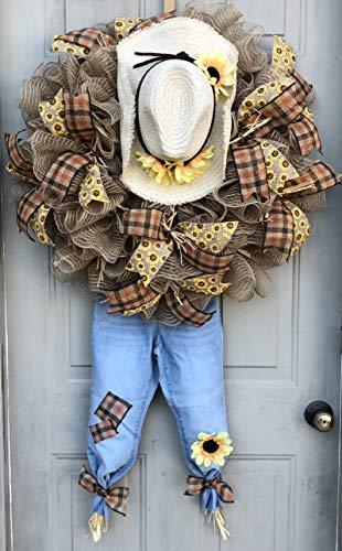 Fall Scarecrow Wreath | Fall Thanksgiving Decor | Thanksgiving Door Hanger | Door Wall Decor | FREE Shipping | Burlap Bowtique