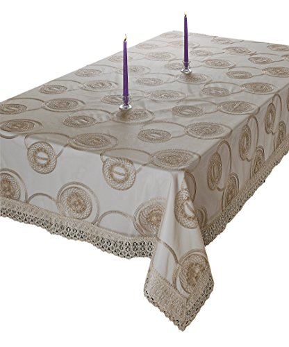 Violet Linen MARVELOUS GL-4 Vl-80400-Marvelous-Gl-4 Marvelous Lace Tablecloth With Embroidered Round Scroll Design, Gold, 70
