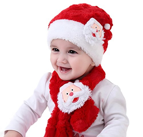 Shmily Girl Christmas Hat for Women & Kids (Kids Hat & Scarf Set) ()
