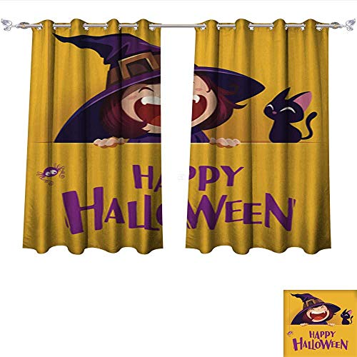 Blackout Curtains Happy Halloween Little Witch with Big Signboard Yellow Background Darkening Bedroom and Living Room Curtains W55 x L63/Pair ()
