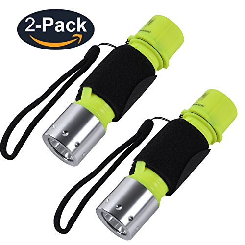 Diving Torch - YAOMING Flashlight Diving Light, Submarine Scuba Flashlight Dive Light, Waterproof Underwater Torch for Scuba Diving, Night Snorkeling (Pack 2)