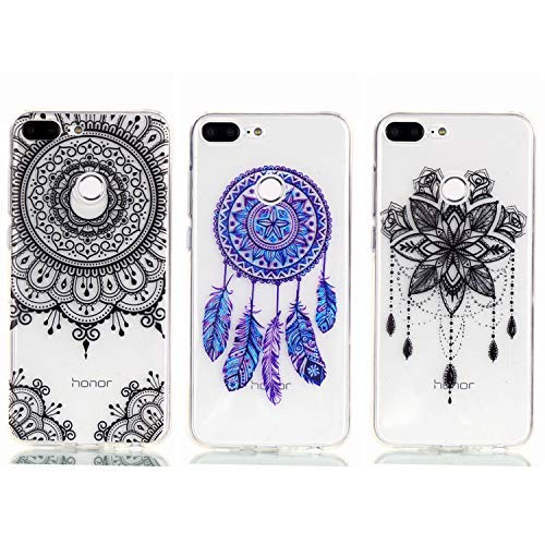- Huawei Honor 9 Lite Case - 3 Pcs Shock-Absorption TPU Rubber Skin Bumper Case Transparent Crystal Clear Cute Colorful Print Patterns Ultra Slim Protective Cover by AIIYG DS - Mandala