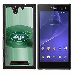 JETS equipo de fútbol- Metal de aluminio y de plástico duro Caja del teléfono - Negro - Sony Xperia C3 D2533 / C3 Dual D2502
