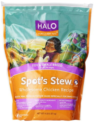 Halo Spot's Stew Natural Dry Wholesome Chicken for Small Breed Dogs, 4 Pound