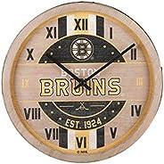 NHL Boston Bruins Team Logo Wood Barrel Wall ClockTeam Logo Wood Barrel Wall Clock, Team Color, One Size