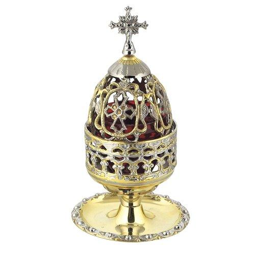 Two Colored Brass Greek Christian Orthodox Vigil Lamp (83 GN)