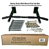 Iron Core Athletics Wall Mount Pull Up Bar - Heavy Duty Wall Mounted Pull-Up / Chin Up Bar - Four Mounting Bolts on Each Side for Secure Mounting Strength