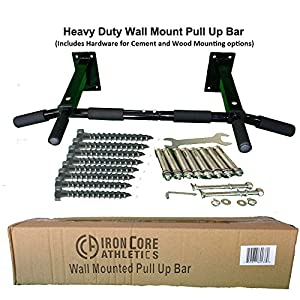 Iron Core Athletics Wall Mount Pull Up Bar Heavy Duty Wall Mounted Pull Up / Chin Up Bar Four Mounting Bolts on Each Side for Secure Mounting Strength