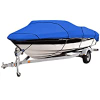 Boat Cover, Super Strong Heavy Duty 420D Marine Grade Oxford Cloth Waterproof,for V-Hull Runabout Jumbo Boat Speedboat…