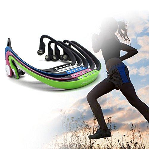 HuntGold Wireless TF Card Music Player&FM Radio Headphone Earphone Sport MP3 for Jogging(green)
