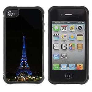 """Hypernova Defender Series TPU protection Cas Case Coque pour Apple iPhone 4 / iPhone 4S [Arquitectura Torre Eiffel Tour de Noche""""]"""