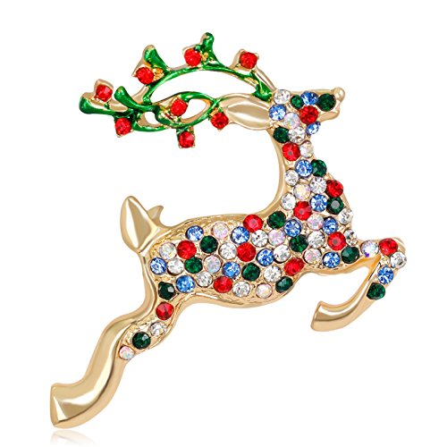 ptk12 Hot Christmas Enamel animal crystal Deer Brooches for Women Bijouterie Kid Gold Color by ptk12