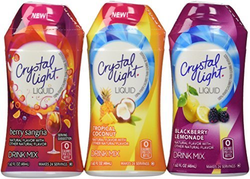 Crystal Light Liquid Variety Drink Mix 1.62 Fl Oz Tropical Coconut , Berry Sangria , Blackberry Lemonade Pack of 6 by Crystal Light