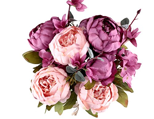 M-choice Vintage Artificial Peony Silk Flowers Bouquet Home Wedding Decoration,Pack of 1