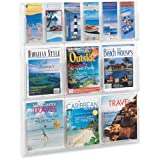 Safco Magazine and Pamphlet Display Rack - 34.8'' Height x 30'' Width x 2'' Depth - 12 Pocket(s) - Plastic - Clear