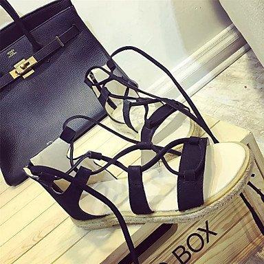 LvYuan Mujer-Tacón Plano-Confort-Sandalias-Vestido Informal-PU-Negro Gris Marrón Claro Black