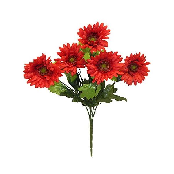 21″ Satin Gerbera Daisy Bush Silk Wedding Flowers Home Party Decorations 5 Daisies (Red)