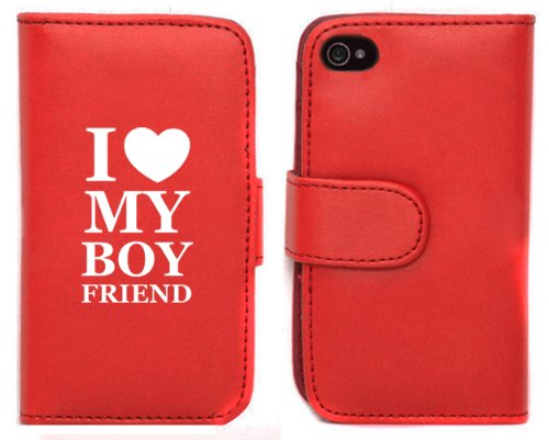 UPC 799493676068, Red Apple iPhone 4 4S 4G LP118 Leather Wallet Case Cover I Love My Boyfriend
