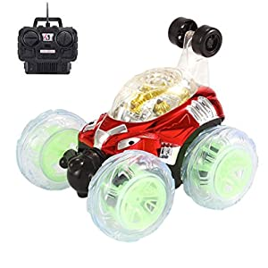 Amiley RC Rolling Stunt Car Invincible Tornado Remote Control Truck 360 Degree Spinning and Flips With Color Flash & Music For Kids Gift (Red)