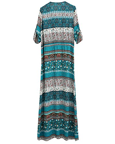 Floral Women's Boho Summer Button AELSON Plus Split Dress up Maxi Green Dresses Long Beach Size awSqdd1A