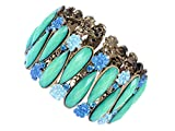 Alilang Synthetic Sapphire Crystal Rhinestone Painted Flower Teal Teardrop Cuff Bangle Bracelet