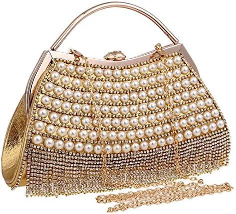 レディースハンドバッグ、ビーズのイブニングバッグ、ヴィンテージパールハンドバッグ、バッグデコレーション、大容量 美しいファッション