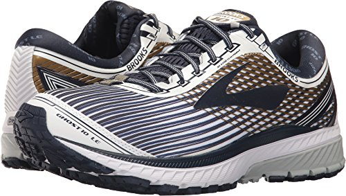 Brooks Mens Fantôme 10 Neutre Rembourré Chaussure De Course Blanc / Marine / Or