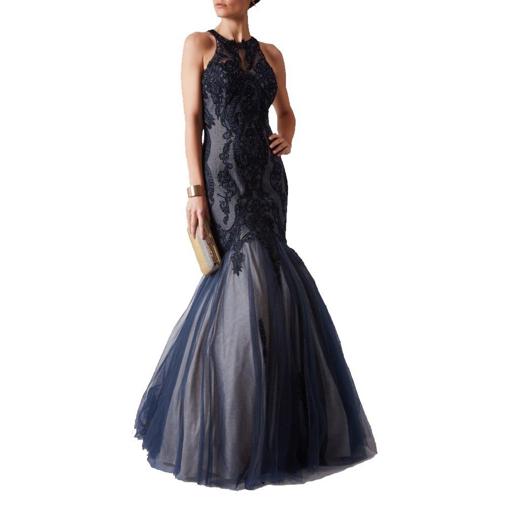 Mascara MC166107 Embroidered Floor Length Mermaid Style Dress (US8 UK10, Navy)