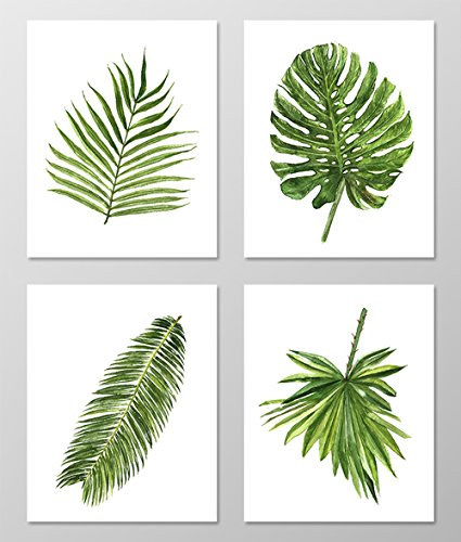 Green leaf art #A077 - Set of 4 art prints (8x10).Green wall art.Palm leaf wall art.Botanical art.Botanical prints wall art. Nature art botanical.Painting.Nature art.Nature wall art.Green wall art. Leaf Wall Decor