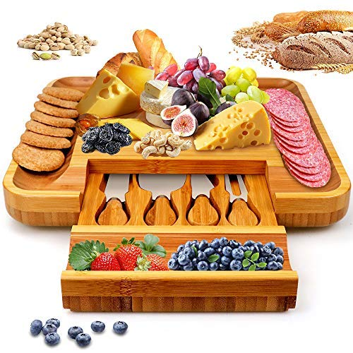 Bamboo Cheese Board Set with Cutlery In Slide Wooden Charcuterie Tray Platter Out Drawer Including 4 Stainless Steel Knife and Serving Utensils,Gift Idea for Birthdays, Wedding Registry, Housewarming