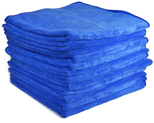 """Price comparison product image Detailer 365 UItraplush Premium Microfiber Towel - 16"""" Square, 400GSM (12 Pack, Blue)"""