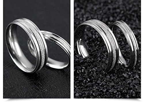 Stainless Steel Couple Wedding Bands for Him and Her 4MM Womens Promise Engagement Rings Size 7 by Aienid (Image #2)