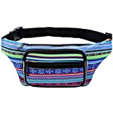 Kayhoma Boho Fanny Pack Stripe Festival Retro Vintage Flat Bum Bags Travel Hiking Hip Bum Waist Bag (Blue)