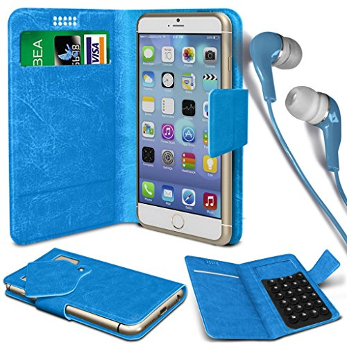N4U Online® - Apple iPhone 4s PU aspiration étui en cuir Wallet Pad Cover & 3,5 mm stéréo intra-auriculaires - Bleu