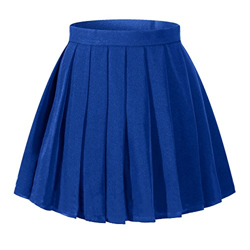 Beautifulfashionlife Women`s School Uniform High Waist Flat Pleated Skirts(4XL,Light Blue)