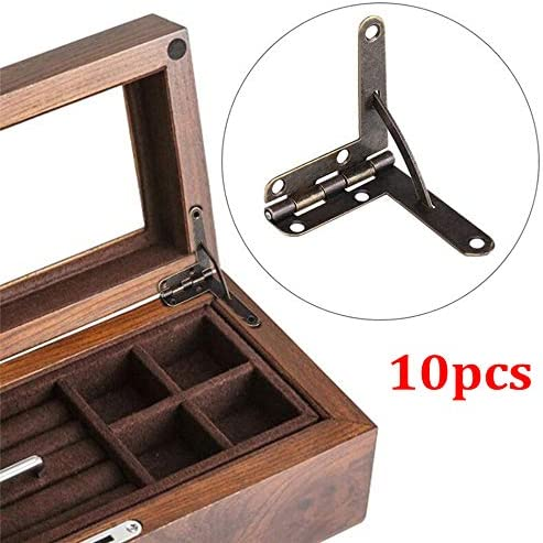 Color : Green patina XSRJ 10pcs Antique 3330mm Furniture Hinges 90 Degree Angle Support Spring Hinge for Wine Case Jewelry Box Lid Furniture Accessories