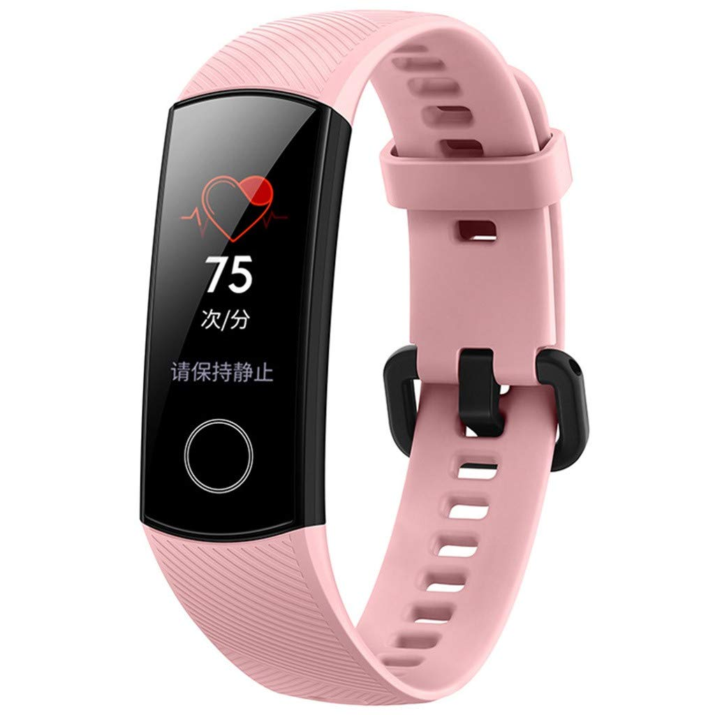 WONdere Honor Band 4 6-Axis Inertial Heart Rate Monitor Infrared Light Wear Detection Sensor Full Touch AMOLED Color Screen Home Button All-in-One Activity Tracker 5ATM Waterproof (Pink)